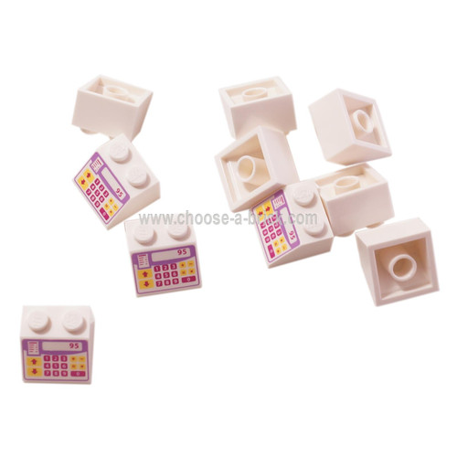 LEGO Parts - White Slope 45 2 x 2 with Pink, Purple and Yellow Cash Register Pattern