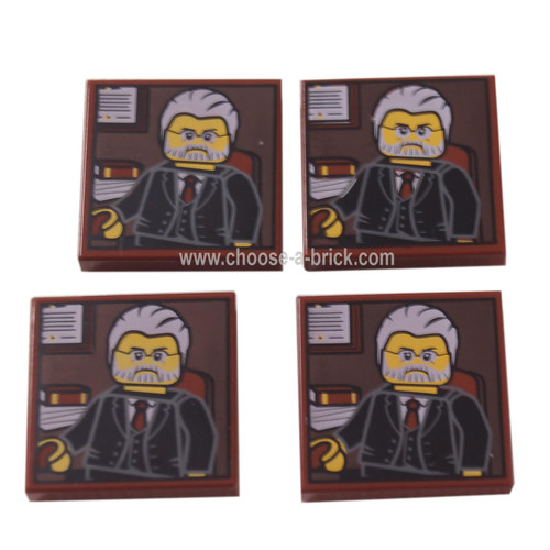 LEGO Parts - Reddish Brown Tile 2 x 2 with Portrait of Male Minifig with Gray Hair, Beard and Black Suit Pattern
