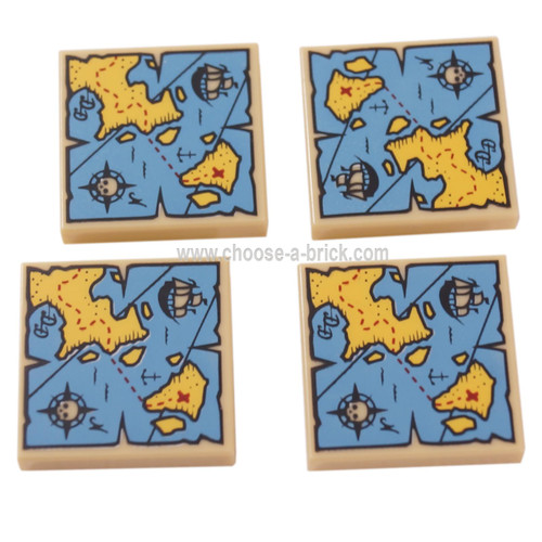 LEGO Parts -  Tile 2 x 2 with Map with Red 'X' and Blue and Yellow Pattern