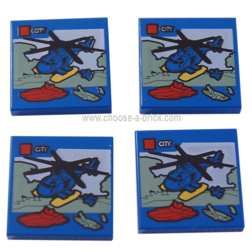 LEGO Parts - Tile 2 x 2 with Groove with Lego Helicopter and 'CITY' Set Box Pattern