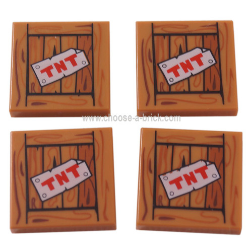 LEGO Parts - Medium Dark Flesh Tile 2 x 2 with 'TNT' on Wood Grain Pattern