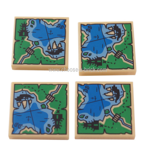 LEGO Parts - Tan Tile 2 x 2 with Map Ninjago with Pagoda and Ship Pattern