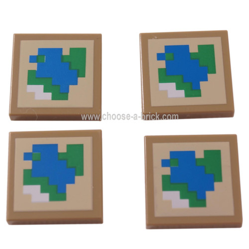 LEGO Parts - Dark Tan Tile 2 x 2 with Pixelated Blue, Green and White on Tan Background Pattern Minecraft Map
