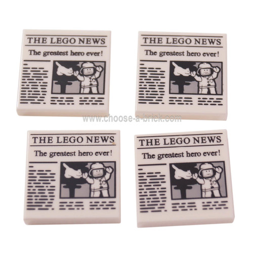 White Tile 2 x 2 with Newspaper 'THE LEGO NEWS' and 'The greatest hero ever!' Pattern