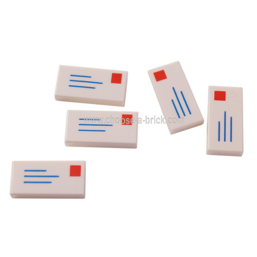 LEGO Parts - White Tile 1 x 2 with Mail Envelope, Address and Stamp Pattern