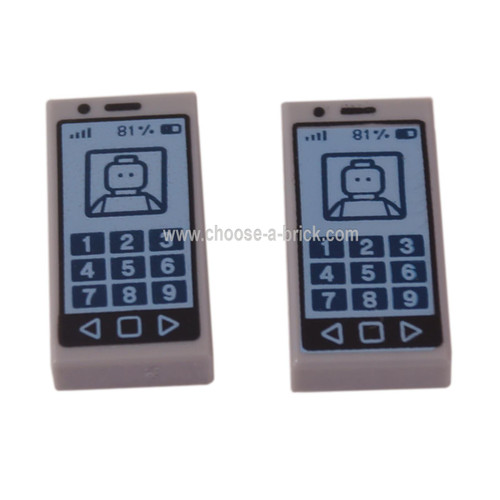 LEGO Parts - Light Bluish Gray Tile 1 x 2 with Cell Phone with '81%' and Minifig on Screen Pattern