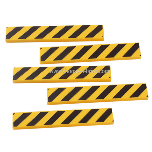 LEGO Parts -Yellow Tile 1 x 6 with Black Danger Stripes Pattern