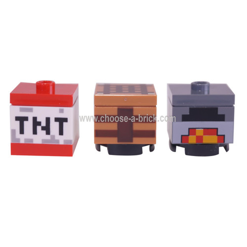 3 LEGO Minecraft items - oven - crafting table and TNT