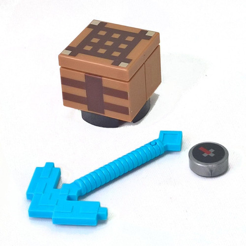 3 LEGO Minecraft Accessories - pickaxe, crafting table and compass