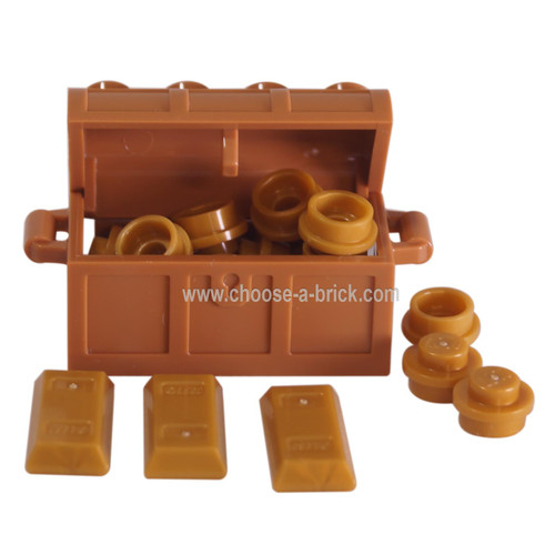 1 LEGO Treasure Chest with 10 gold pieces - 3 gold bars
