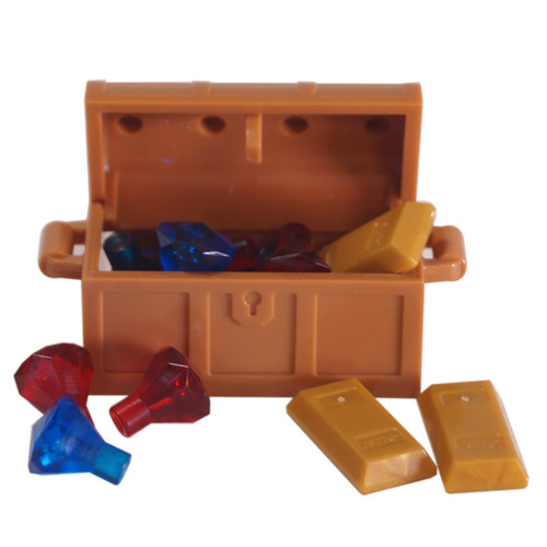 1 LEGO Treasure Chest with 10 jewel pieces - 3 pearl gold bars