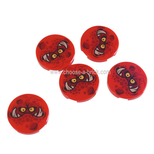 LEGO Parts - Red Tile, Round 2 x 2 with Bottom Stud Holder with Globlin Face with Large Teeth Pattern
