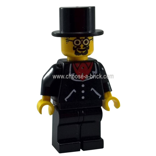 LEGO Minifigure - Lord Sam Sinister - Suit with 3 Buttons Black - Black Legs Top Hat