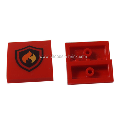 LEGO parts - Red Slope, Curved 2 x 2 No Studs with Fire Logo Pattern