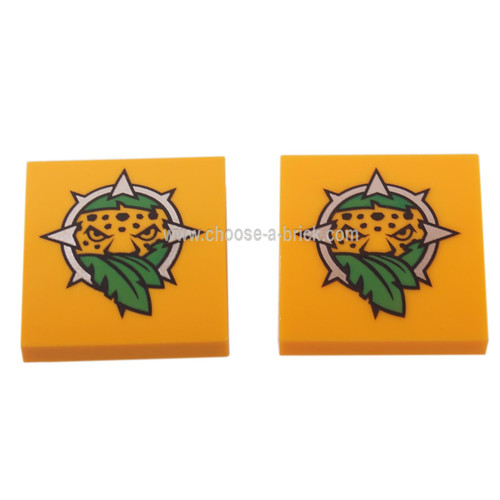 LEGO Parts- Bright Light Orange Slope, Curved 2 x 2 No Studs with Leopard Head and Leaves Pattern