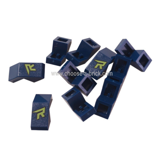 LEGO Parts - Dark Blue Slope 45 2 x 1 with Cutout without Stud with Lime 'R' Pattern