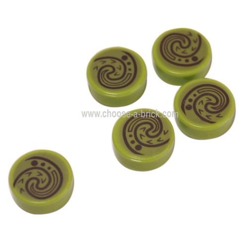 LEGO Parts -  Lime Tile, Round 1 x 1 with Swirl - Wave Pattern