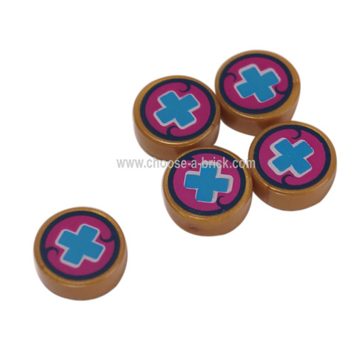 LEGO Parts - Pearl Gold Tile, Round 1 x 1 with Medium Blue Cross on Magenta Background Pattern