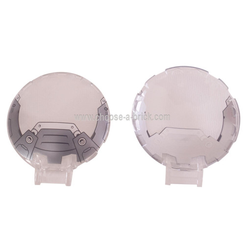 LEGO Parts - Trans-Clear Dish 6 x 6 Inverted - No Studs with Handle with Pearl Dark Gray and Silver Armor Pattern