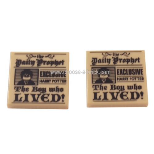LEGO Parts - Tan Tile 2 x 2 with 'the Daily Prophet - EXCLUSIVE HARRY POTTER - The Boy who LIVED!' and Image of Boy with Glasses Pattern Add Image