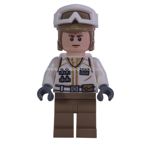 LEGO Minifigure Star Wars -  Hoth Rebel Trooper White Uniform, Dark Tan Legs (Frown)