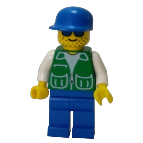 Jacket Green 2 Large Pockets - Blue Legs, Blue Cap, Stubble