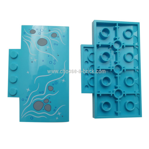 LEGO parts - Medium Azure Slope, Curved 5 x 8 x 2-3 with Bubbles and Light Bluish Gray Rocks in Stream Pattern