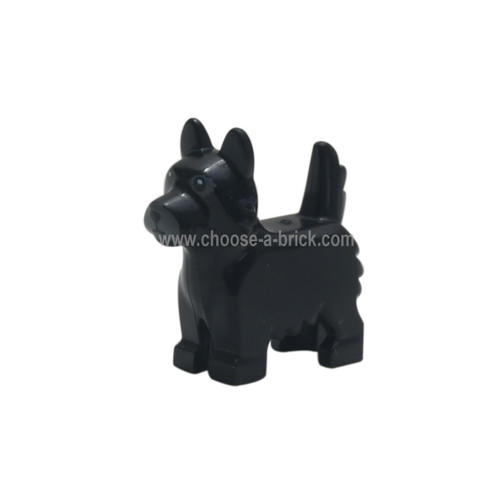 Black Dog, Terrier with Black Eyes and Nose on Gray Background Pattern - LEGO Minifigure