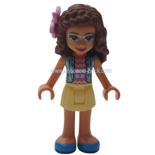 LEGO Minifigure Friends - friends Olivia, Bright Light Yellow Skirt, Dark Pink Top, Blue Jacket, Flower