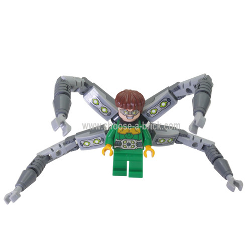 LEGO Minifigure - Dr. Octopus / Doc Ock - Green Outfit with Arms without Stickers