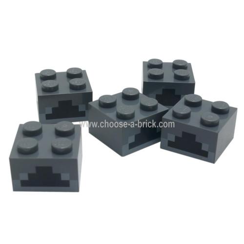 LEGO Parts - Dark Bluish Gray Brick 2 x 2 with Light Bluish Gray and Black Minecraft Furnace Geometric Pattern