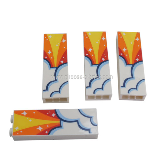 LEGO Parts - White Brick 1 x 2 x 5 with Red, Orange and Yellow Sky, Clouds and White Stars Pattern