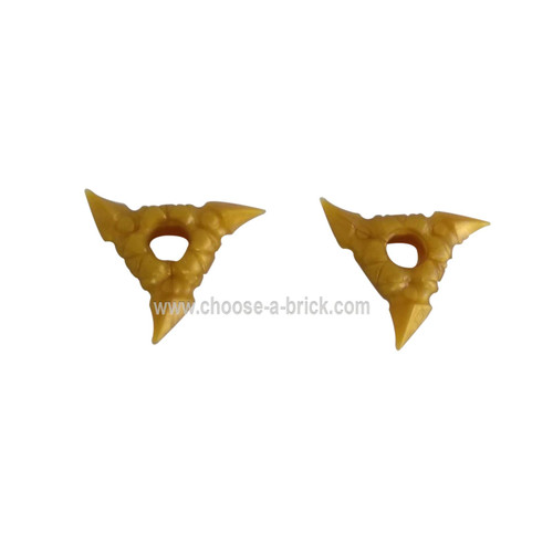 LEGO Parts - Pearl Gold Minifig, Weapon Throwing Star Shuriken with Textured Grips, 2 on Sprue