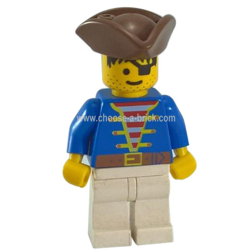 LEGO Minifigure - Pirate Blue Jacket, White Legs, Brown Pirate Triangle Hat