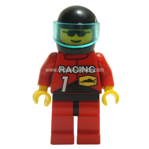 LEGO Minifigure - Racing Team 1, Black Helmet, Trans-Light Blue Visor