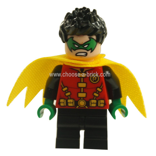 LEGO MInifigure - Robin - Green Mask and Hands, Black Short Legs, Yellow Scalloped Cape