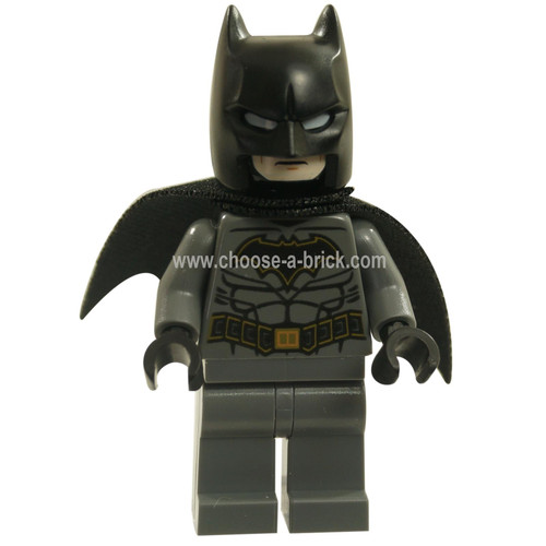 Batman - Dark Bluish Gray Suit with Gold Outline Belt and Crest, Mask and Cape Type 3 Cowl
