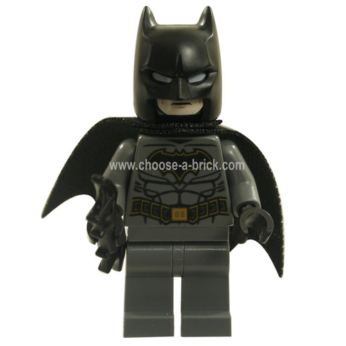LEGO MInifigure - Batman - Dark Bluish Gray Suit with Gold Outline Belt and Crest, Mas