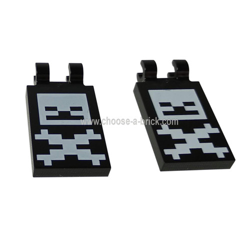 LEGO Parts - Black Tile, Modified 2 x 3 with 2 Clips with Pixelated Skull and Crossbones Minecraft Pattern