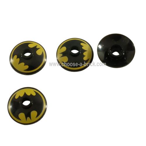LEGO Parts - Dish 2 x 2 Inverted Radar with Black Batman Logo on Yellow Background Pattern