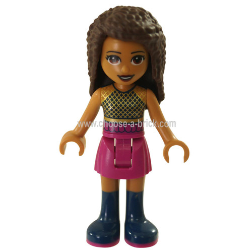 LEGO Minifigure -  Friends Andrea, Dark Pink Skirt, Black Top