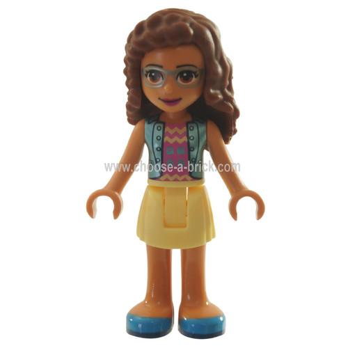 LEGO MInifigure - Friends Olivia, Bright Light Yellow Skirt, Dark Pink Top with Blue Jacket