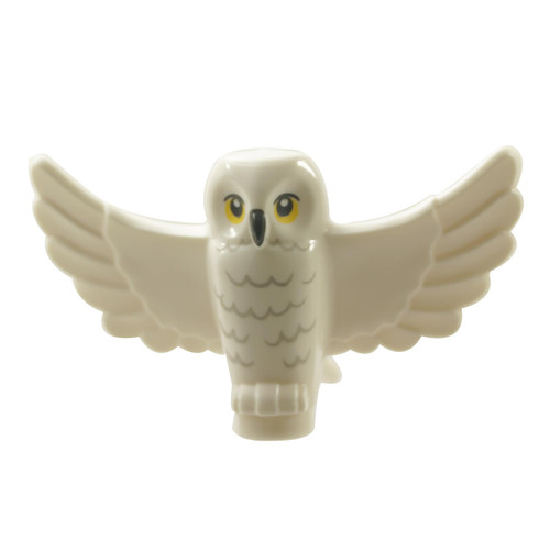 White Owl, Spread Wings with Black Beak, Yellow Eyes and Light Bluish Gray Rippled Chest Feathers Pattern HP Hedwig