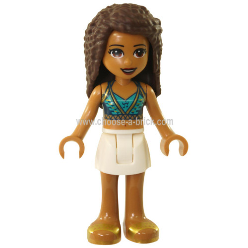 LEGO Minifigure -  Friends Andrea, White Skirt, Dark Blue Halter Top with Gold Trim, Headphones