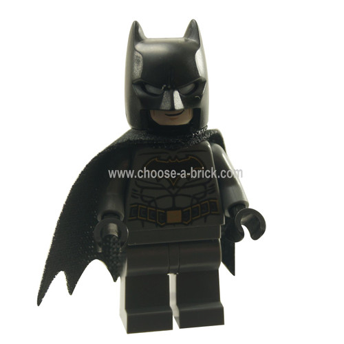 LEGO MInifigure -  Batman - Dark Bluish Gray Suit with Gold Outline Belt