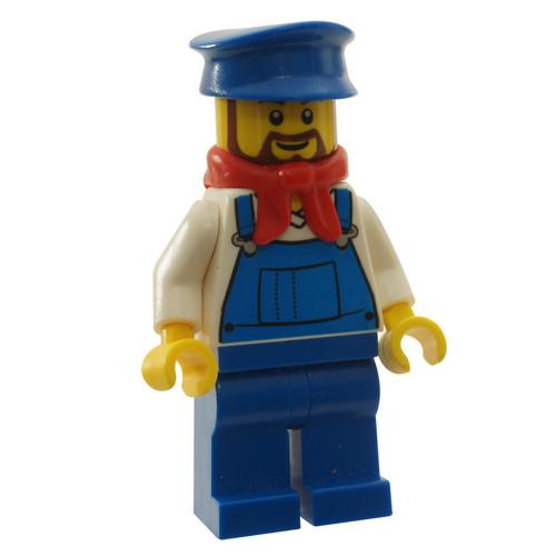 LEGO Minifigure -  Overalls Blue over V-Neck Shirt