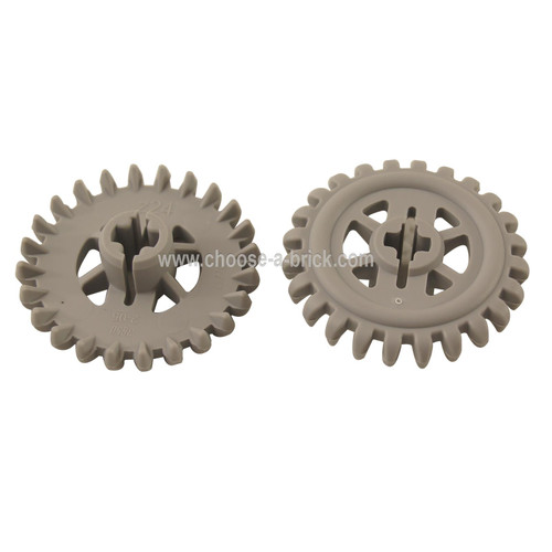 LEGO Parts - Gray Technic, Gear 24 Tooth Crown 2nd Version - Reinforced