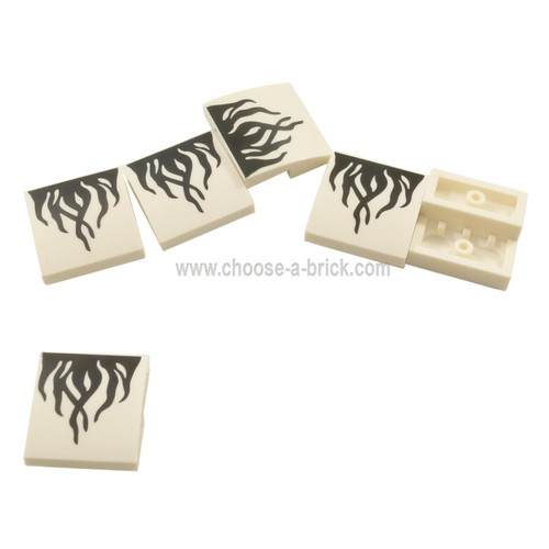 LEGO Parts - Slope, Curved 2 x 2 with Black Flames on White Background Pattern