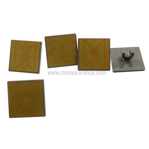 LEGO Parts - Road Sign 2 x 2 Square with Open O Clip with Diamond Gold Triangles Pattern