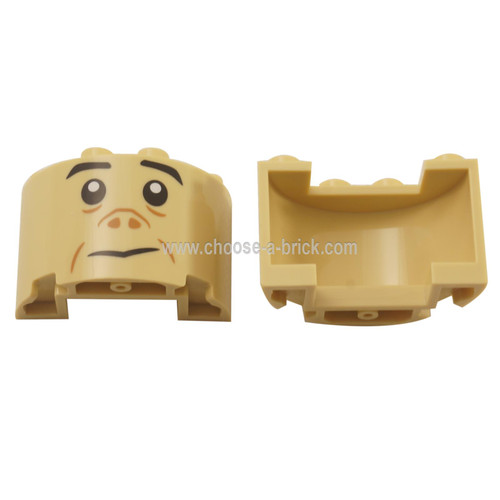 LEGO Parts - ylinder Half 2 x 4 x 2 with 1 x 2 Cutout with Black Eyebrows, Eyes, and Mouth and Dark Tan Nose and Cheek Lines Pattern Grawp Face